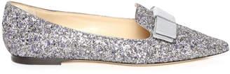 Jimmy Choo GALA Platinum Mix Painted Coarse Glitter Fabric Pointy Toe Flats
