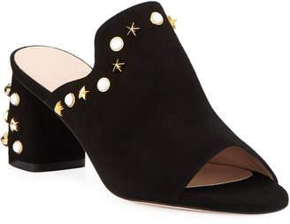 Stuart Weitzman Dohickey Embellished Suede Mule Sandals