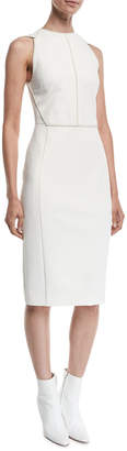 Narciso Rodriguez Sleeveless Contrast-Seamed Scuba Sheath Dress