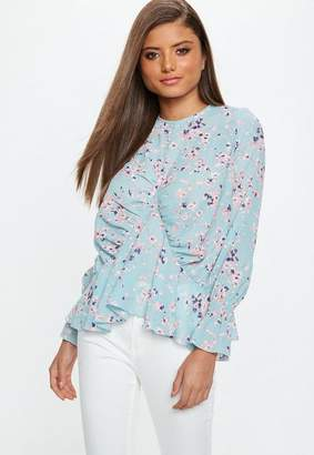 Missguided Blue Chiffon Floral Blouse