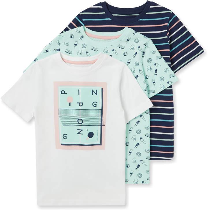 Tu Clothing 3 Pack Multicoloured Print T-shirts