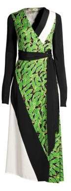 Diane von Furstenberg Maureen Leaf Silk Midi Wrap Dress