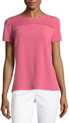 Liz Claiborne Short Sleeve Round Neck Lace Trim Woven Blouse