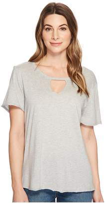 Michael Stars Jersey Cut Out Tee w/ Raw Edge Women's Clothing