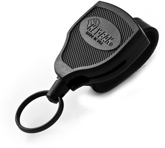 "Key Bak KEY-BAK SUPER48 SD 13 oz. Locking Retractable Keychain, 36"" Kevlar Cord, Black Polycarbonate Case, Steel Belt Clip, Oversized Split Ring"