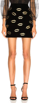 Givenchy Lip Embroidered Velvet Skirt