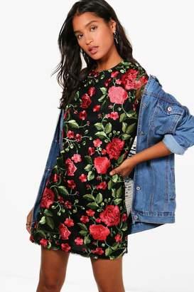 boohoo Rose Mesh Embroidered Shift Dress