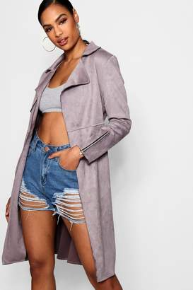 boohoo Suedette Trench Coat