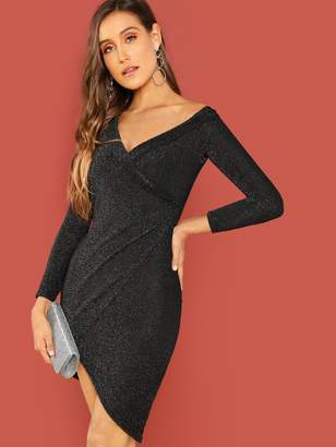 Shein Asymmetrical Shawl Collar Wrap Glitter Dress