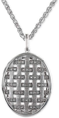 Effy Diamond Oval Pendant Necklace in Sterling Silver (1/5 ct. t.w.)