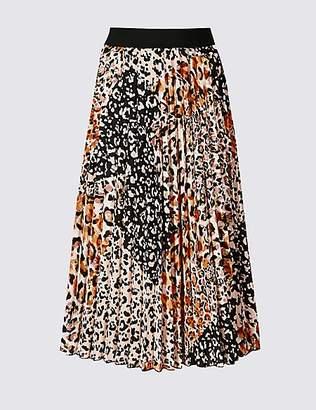 M&S Collection Animal Print Pleat Midi Skirt