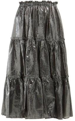 Lisa Marie Fernandez High Rise Tiered Cotton Blend Lame Skirt - Womens - Silver