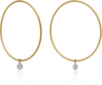 Ila Horizon 14K Gold and Diamond Hoop Earrings