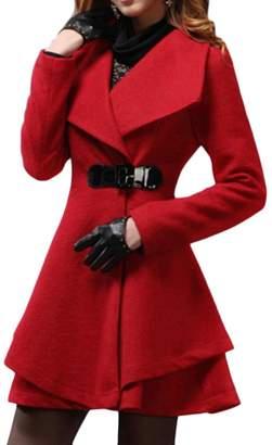4459b635801e2 Cruiize Womens Wool Blend Pea Coat Slim Fit Stylish Winter Lapel Outwear M