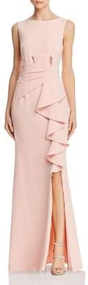 Eliza J Sleeveless Cascading-Ruffle Gown