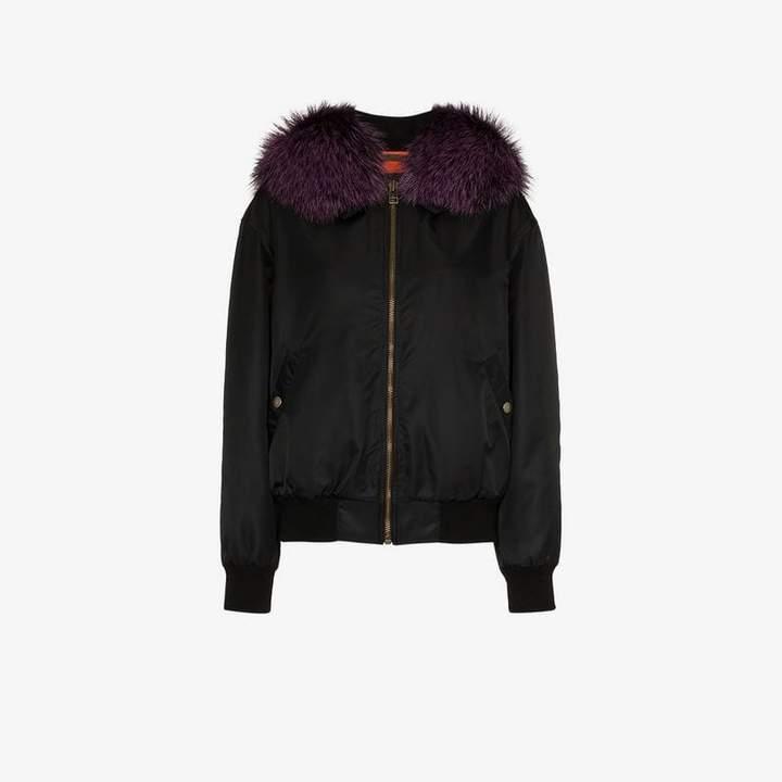 black and purple fox fur trimmed bomber jacket