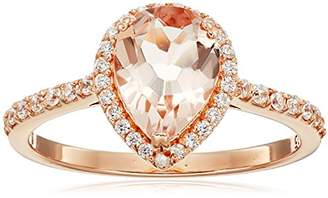 Rose Gold Plated Silver Morganite Pear shape Cubic Zirconia Accents Ring