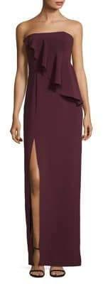 Halston H Strapless Asymmetrical Ruffle Gown