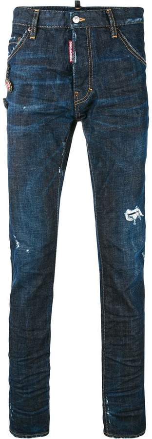 DSQUARED2 denim pin brooch jeans