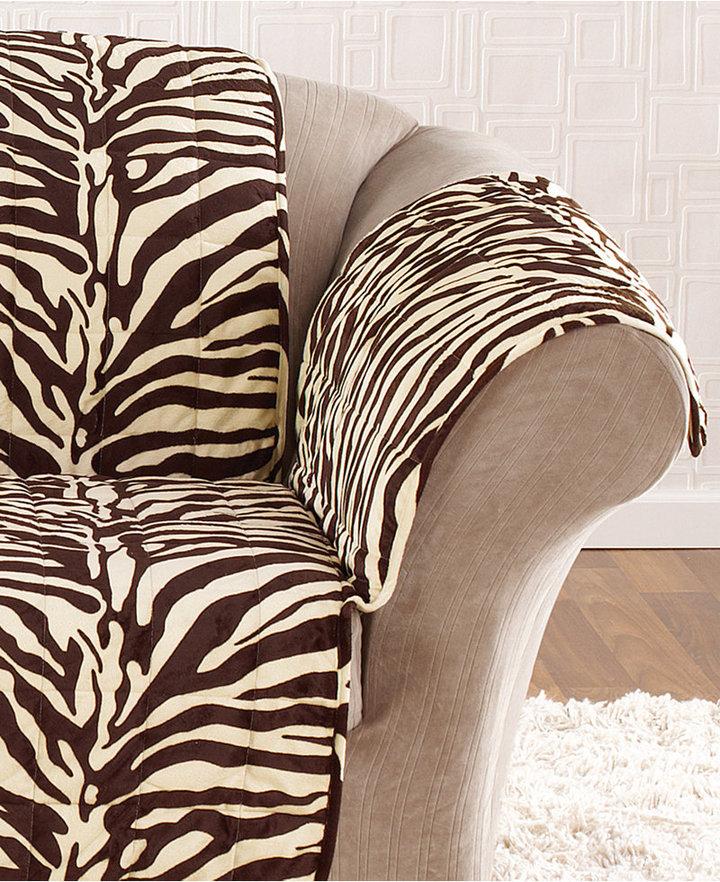Sure Fit Velvet Zebra Pet Loveseat Slipcover Throw