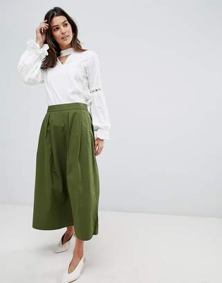 Vila pleat detail midi skirt