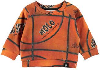 Molo Dag Basketball Print Raglan Sweatshirt, Size 6-24 Months