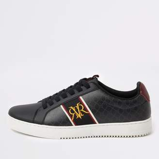 River Island Mens Black RI monogram trainers