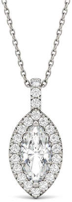 Charles & Colvard Moissanite Marquise Halo Pendant (1-1/3 ct. tw.) in 14k White Gold