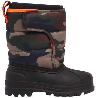 Ralph Lauren Logo Camo Nylon Canvas Snow Boots