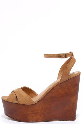 Creative Mind Tan Suede Platform Wedges $34 thestylecure.com