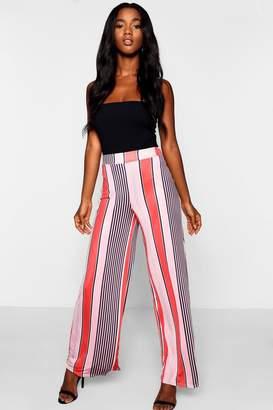 boohoo Multi Stripe Wide Leg Slinky Trousers