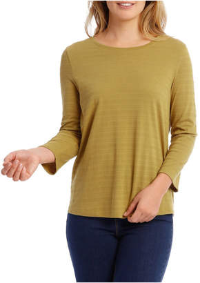 Textured Knit 3/4 Sleeve Tee With Pocket