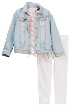 7 For All Mankind Denim Jacket, Tee, & Skinny Jean 3-Piece Set (Toddler Girls)