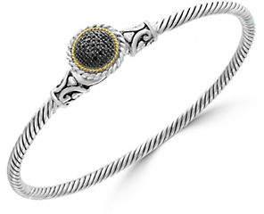 Effy 925 Sterling Silver 18K Yellow Gold and 0.09K Black Diamond Bangle Bracelet