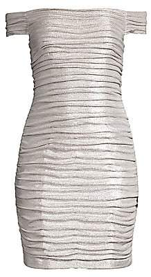 Aidan Mattox Women's Off-The-Shoulder Ruched Foiled Mini Dress