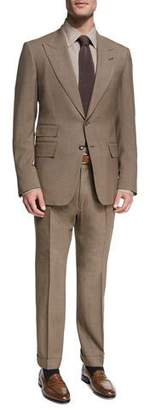 Tom Ford Shelton Base Mélange Wool-Silk Peak-Lapel Two-Piece Suit, Brown