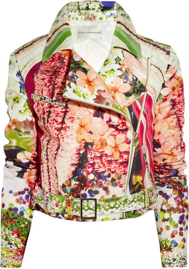 Mary Katrantzou Printed silk-faille biker jacket