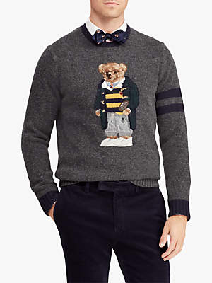 Ralph Lauren Polo Polo Bear Jumper, Grey Heather