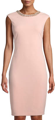 Tahari ASL Beaded-Neck Sheath Dress