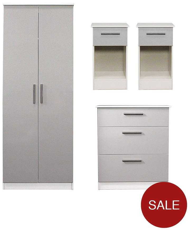 SWIFT Montreal Gloss 4-piece Ready Assembled Package – 2-Door Wardrobe, 3-Drawer Chest And 2 Bedside Chests