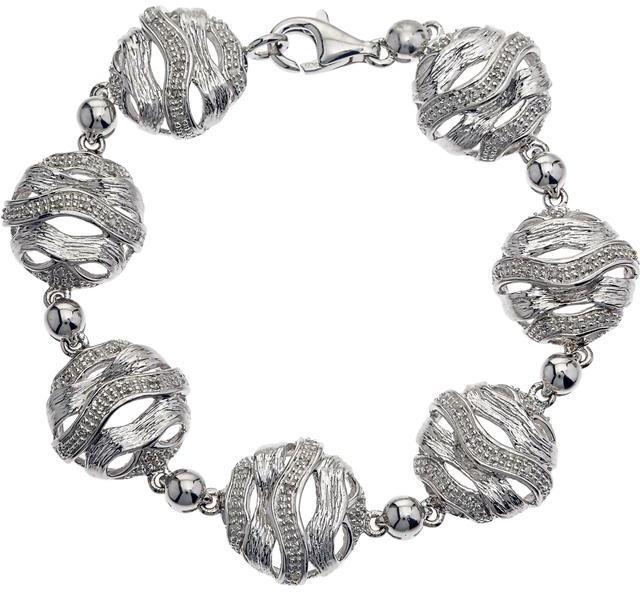3/8 CT TW Diamond Textured Silver Wave Design Link Bracelet by Ax Jewelry