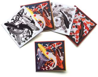 Arlette Ess Set of 5 Textured Greeting Cards with Envelopes Koi Designs Assorted