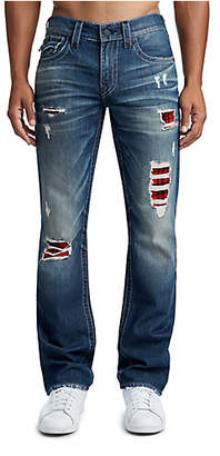 True Religion MENS PLAID LINING STRAIGHT JEAN W/ FLAP
