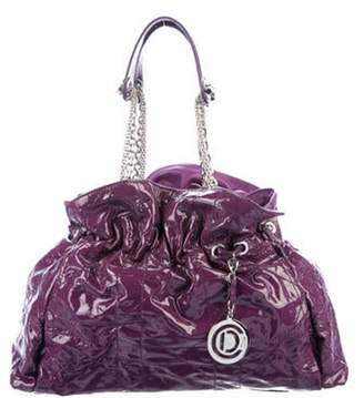 Christian Dior Patent Leather Whipstitch Tote Violet Patent Leather Whipstitch Tote