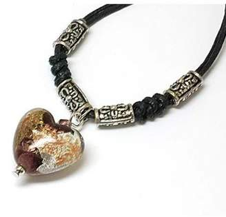 "Glass Heart The Olivia Collection TOC Mauve Goldsand Lampwork Pendant 18"" Cord"