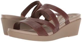 Crocs - Leigh-Ann Mini Wedge Leather Women's Wedge Shoes $65 thestylecure.com