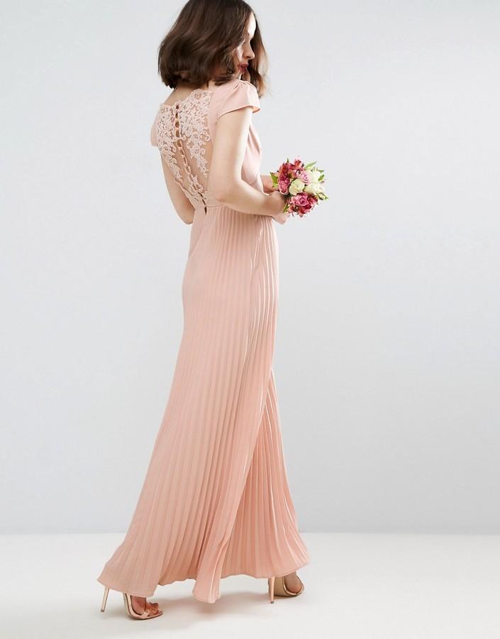 AsosASOS WEDDING Lace Back Pleated Maxi Dress