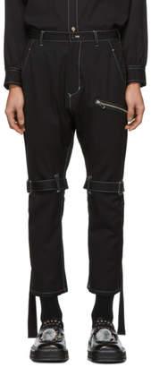 Sulvam Black Wool Bandage Trousers
