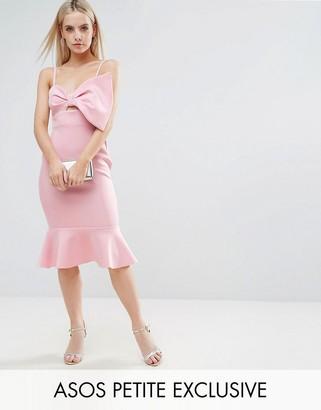 ASOS Petite ASOS PETITE Scuba Bow Front Pephem Midi Dress $76 thestylecure.com