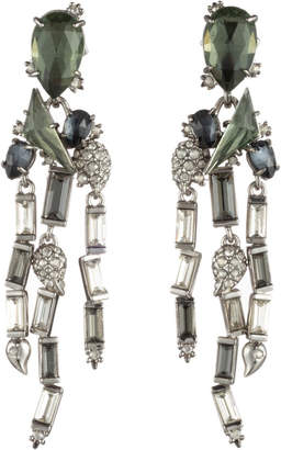 Alexis Bittar Fancy Stone Cluster With Crystal Baguette Fringe Post Earring